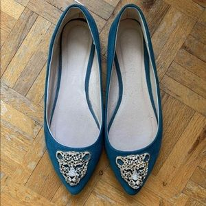 Dark turquoise faux suede flats